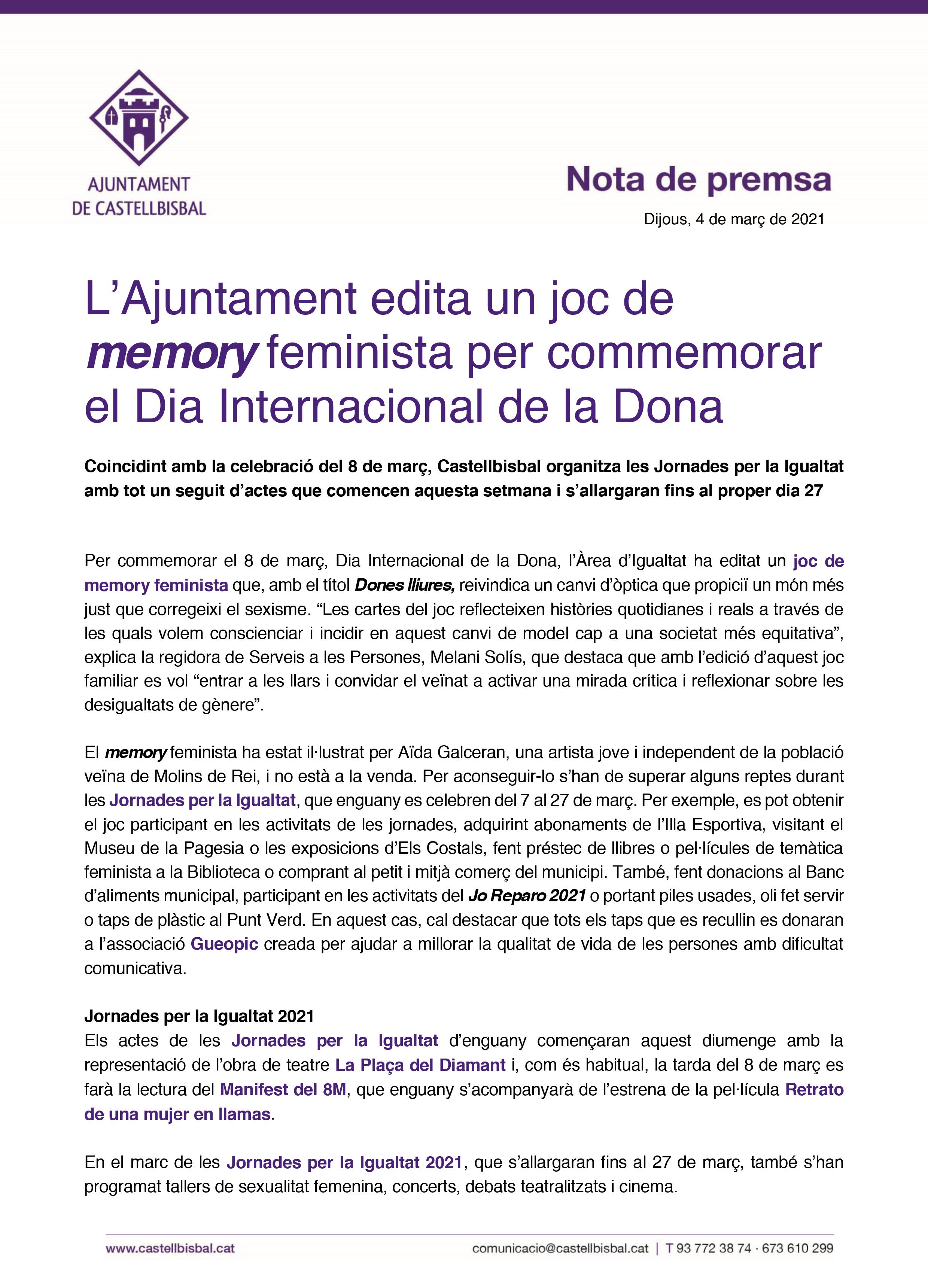 04_03_2021_L'Ajuntament edita un joc de memory feminista per commemorar el Dia Internacional de la Dona